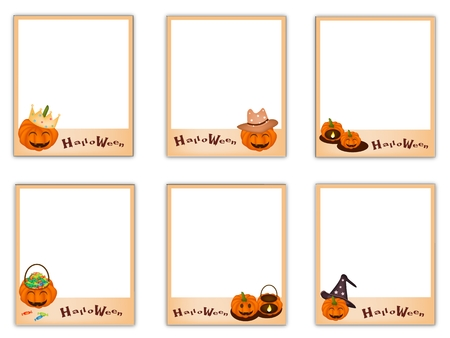 Collection of Six Blank Instant Photo Prints or Instant Camera with Halloween Evil and Halloween Item, Sign for Halloween Celebration. Vector