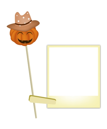 Illustration of A Happy Jack-o-Lantern Pumpkin Wearing A Brown Cowboy Hat with Blank Instant Photo Prints, For Halloween Celebration. Vector