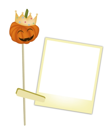Illustration of A Jack-o-Lantern Pumpkin Wearing A Golden Crown with Blank Instant Photo Prints, For Halloween Celebration. Vector