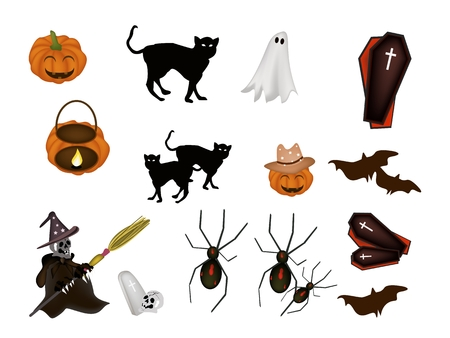 An Illustration Collection of Halloween Evil and Halloween Item for Halloween Celebration. Vector