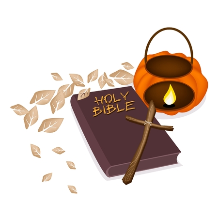 Illustration of Brown Covered Bible with A Wooden Cross and Pumpkin Lantern, The Foundation of Christianity.