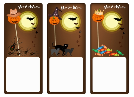 Illustration Banner of Jack-o-Lantern Pumpkin on Wooden Stick with Halloween Mosters and Halloween Items For Halloween Celebration. Vector