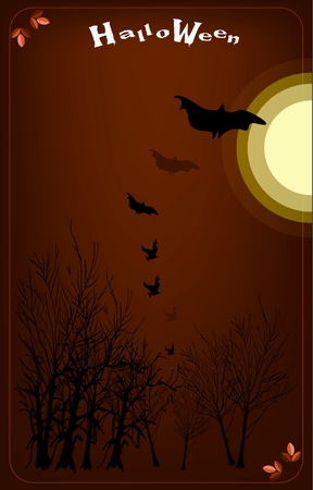 Happy Halloween Background of Evil Bats Flyig on A Spooky Forest in Full Moon Night, Sign for Halloween Celebration. Vector