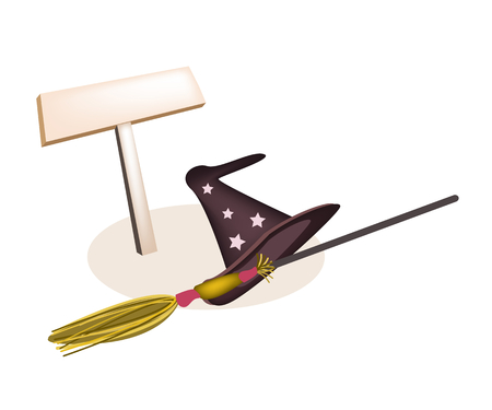 An Illustration of Empty Wooden Sign Board with Witch Hat and Broomstick Isolated on White Background, For Halloween Celebration. Vector