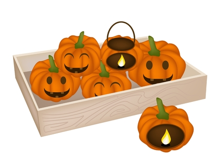 jack in the box: Happy Jack-o-Lantern Pumpkins and Pumpkin Baskets with Candle Light in Wooden Container Isolated on White Background, For Halloween Celebration. Illustration