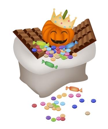 barra de chocolate: Jack-o-Lantern Pumpkins que lleva una corona de oro con la barra de chocolate y dulces en una bolsa de mano para la celebraci�n de Halloween.