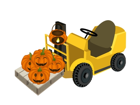 Powered Industrial Forklift, Fork Heavy Machine, Fork Truck or Lift Truck Loading Stack of Happy Jack-o-Lantern Pumpkins in Shopping Cart, Sign For Halloween Celebration. Vector