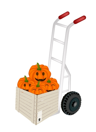 dolly: Hand Truck or Dolly Loading Wooden Crate or Cargo Box Full with Jack-o-Lantern Pumpkins and Pumpkin Baskets with Candle Light, Sign For Halloween Celebration.