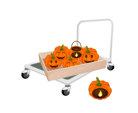 Hand Truck or Dolly Loading Wooden Crate or Cargo Box Full with Jack-o-Lantern Pumpkins and Pumpkin Baskets with Candle Light, Sign For Halloween Celebration. Vector