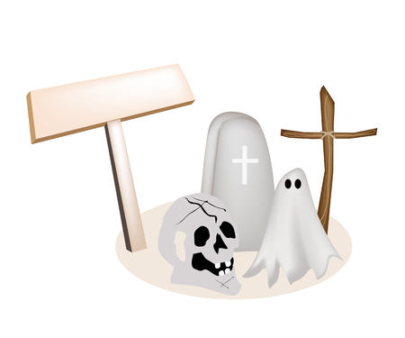 An Illustration of Empty Wooden Sign Board with Gravestone, Wooden Cross and Human Skulls for Halloween Celebration.
