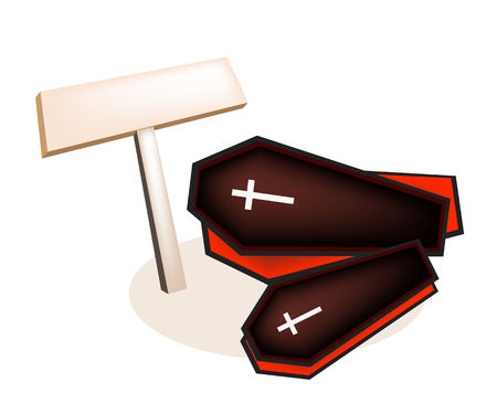 An Illustration of Empty Wooden Sign Board with Two Vampire Coffins for Halloween Celebration. Vector