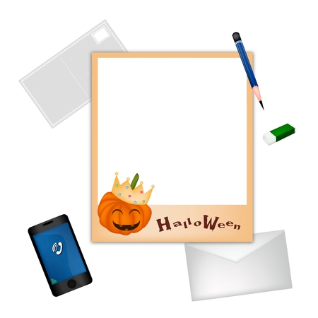 sharpened: A Sharpened Pencil and Eraser Lying on Halloween Photo Frame with A Postcard, Envelope and Smartphone for Halloween Celebration. Illustration