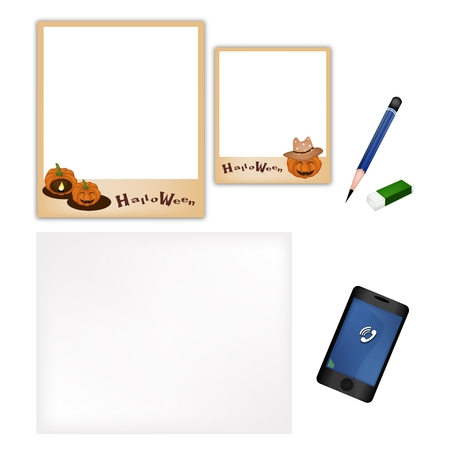 A Sharpened Pencil, Eraser and  Halloween Pumpkins Photo Frame with Blank Paper and Smartphone for Halloween Celebration. Vector
