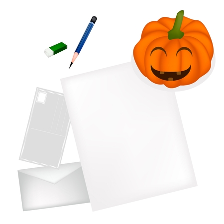 jack o   lantern: A Sharpened Pencil and Eraser Lying on Blank Paper with A Postcard and A Letter Nearing Jack O Lantern Pumpkin