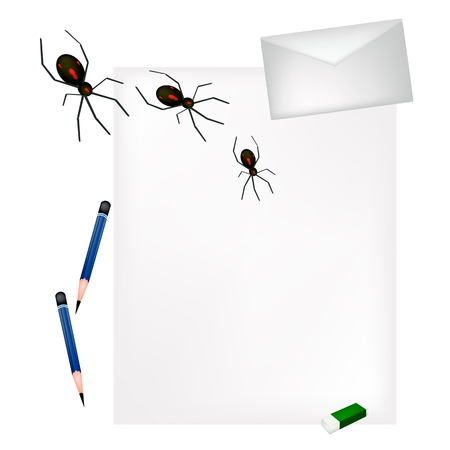 sharpened: A Sharpened Pencil and Eraser Lying on Blank Paper with A Letter and Black Terrible Halloween Spiders, Sign For Halloween Celebration. Illustration