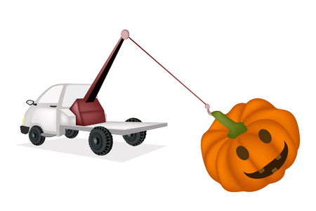 Auto Wrecker Tow Truck, Recovery Truck, Breakdown Lorry or A Breakdown Truck Recover Happy Jack-o-Lantern Pumpkins For Halloween Celebration.