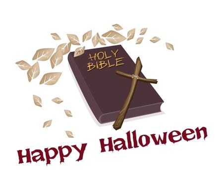 cruz de madera: Una ilustraci�n de la Biblia de Brown cubierto con una Cruz de madera aislada sobre fondo blanco Vectores