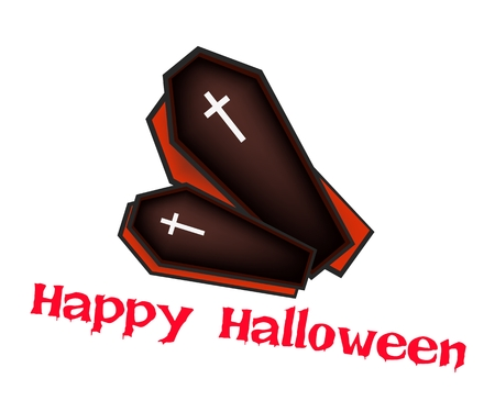 coffins: An Illustration of Two Vampire Coffins for Happy Halloween Celebration. Illustration
