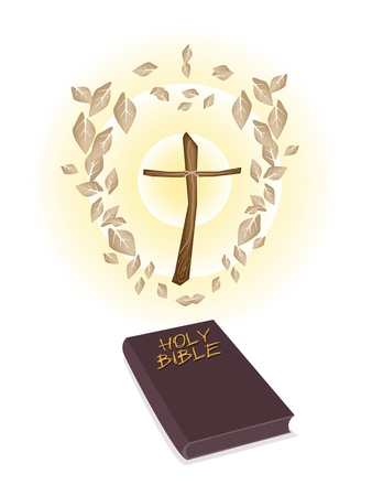 An Illustration of Dried Leaves Around A Wooden Cross with Brown Covered Bible Isolated on White Background, The Foundation of Christianity.