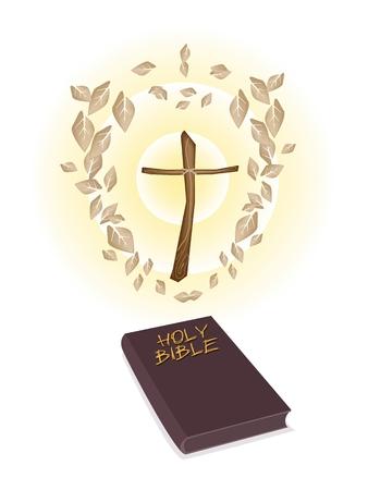 cruz de madera: Una ilustraci�n de hojas secas alrededor de una cruz de madera con Marr�n Cubierto Biblia aislado en el fondo blanco, el fundamento del cristianismo.