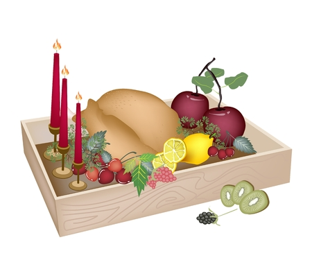 traditional christmas dinner: A Traditional Christmas Dinner of Roast Turkey and Fruits with Candles in Wooden Box for Christmas Celebration. Illustration