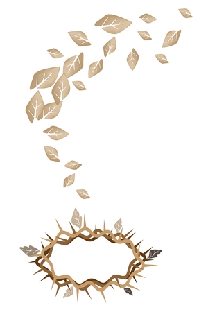 An Illustration Brown Colors of A Crown of Thorns with Falling Dried Leaves from The Holy Land. Vector