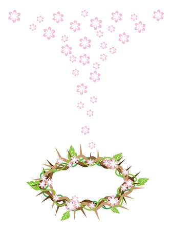 An Illustration of Crown of Thorns with Fresh Green Leaves and Falling Pink Flower from The Holy Land, Symbolizing Resurrection of Jesus. Illustration