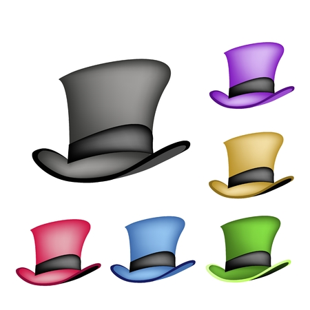 An Illustration Collections of Six Colors of Classic Top Hat or Magic Hat Isolated on A White Background.