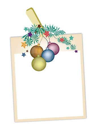 Illustration of Blank Instant Photo Print or Frame Hanging on Christmas Ball or Bauble Clothespins, Copy Space for Text Decorated. Vector