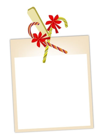Illustration of Blank Instant Photo Print or Frame Hanging on Candy Canes and Clothespins, For Christmas Celebration. Vector