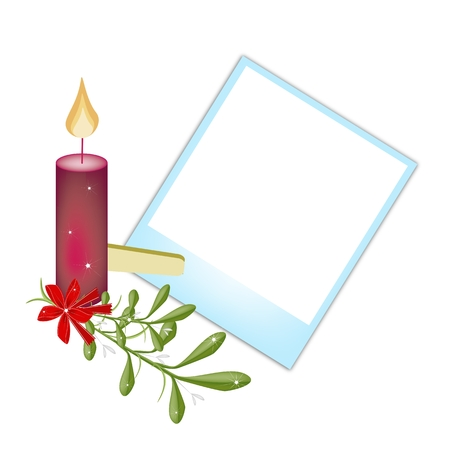 Illustration of Blank Instant Photo Print or Frame with Mistletoe Bunch and Christmas Candles, For Christmas Celebration. Vector
