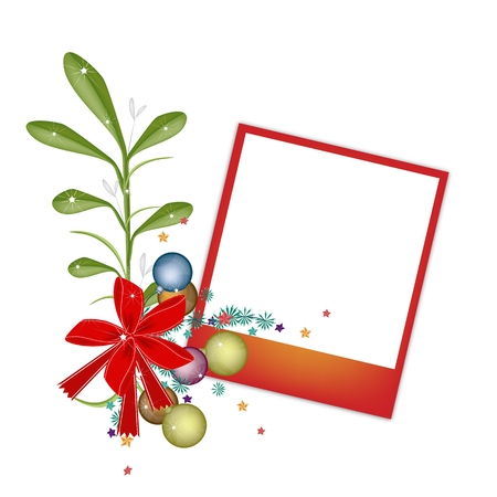 Illustration of Blank Instant Photo Print or Frame with Mistletoe Bunch and Christmas Balls, For Christmas Celebration. Vector