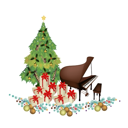 Christmas Tree of Green Maple Leaves with Pile of Gift Boxes and Grand Piano, Sign for Christmas Celebration. Vector