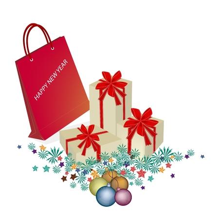 bolsa de regalo: Bolsa de color rojo o bolsa de regalo con cajas de regalo y bolas de Navidad o Reyes Magos gusto, perfecto regalo o presente en la celebraci�n de Navidad.