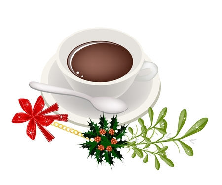 lucky break: A Smoking Hot Coffee with A Beautiful Mistletoe Bunch or Viscum Album Decorated with Holly Leaves and Christmas Red Ribbon For Christmas Celebration.