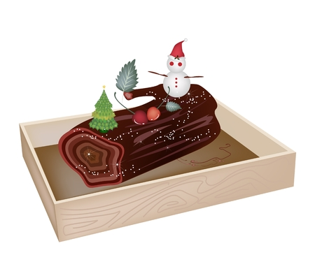 A Traditional Christmas Cake, Yule Log Cake or Buche de Noel in Wooden Box for Christmas Celebration. Vector