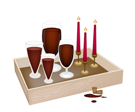 traditional christmas dinner: A Traditional Christmas Dinner of Red Wine with Candles in Wooden Box for Christmas Celebration.