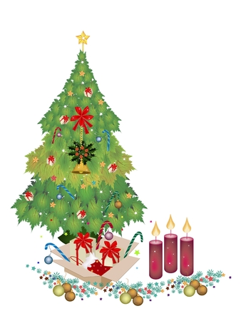 Christmas Tree of Green Maple Leaves with Christmas Candles, Gift Boxes, Candy Canes  and Christmas Ornaments For Christmas Celebration. photo