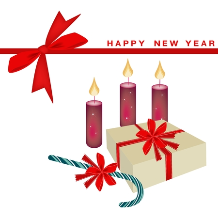 Illustration of Gift Boxes, Candy Canes and Christmas Candles on New Year Greeting Card. Vector