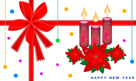 An Illustration Red Poinsettia Plants with Three Christmas Candles on Greeting Card, Sign for Christmas Celebration. Vector