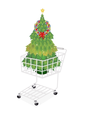 A Shopping Cart Full with Christmas Tree of Green Maple Leaves  Decorated with Christmas Wreath of Baubles and Golden Star, Sign for Christmas Celebration. Vector