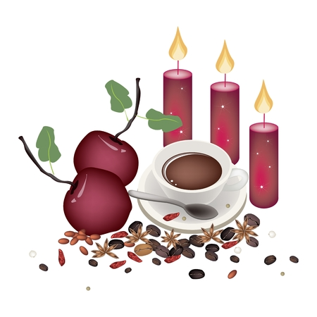 cinnamon sticks: Delicious Red Christmas Apples with Cup of Hot Coffee, Cinnamon Sticks and Anise for Christmas Celebration. Illustration