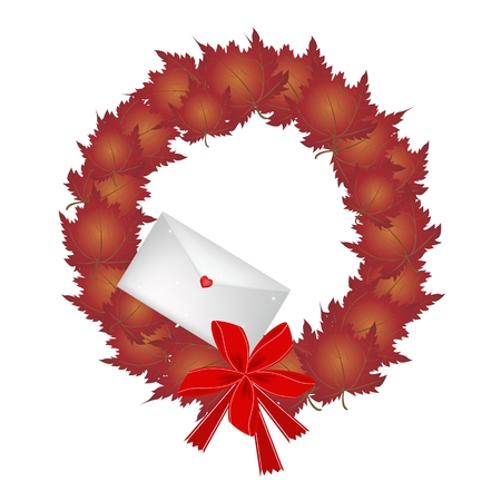 Christmas Wreath of Maple Leaves in Red Colors with Lovely Envelope, Sign for Christmas Celebration. Vector