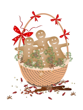 llustration of Christmas Gingerbread Man Cookies Decorated with White Icing on A Beautiful Wicker Basket for for Christmas Celebration. Vector