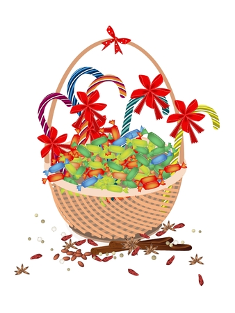 A Traditional Christmas Food of Lovely Candy and Candy Canes with Cinnamon Sticks and Anise on A Beautiful Wicker Basket for Christmas Celebration. Vector