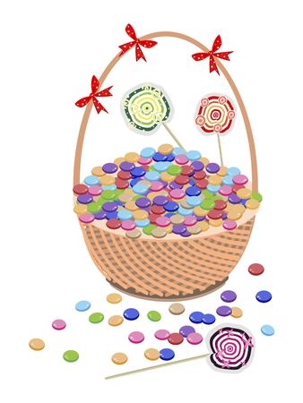 gift basket: Illustration of of Milk Chocolate and Colorful Lollipops on A Beautiful Wicker Gift Basket. Illustration