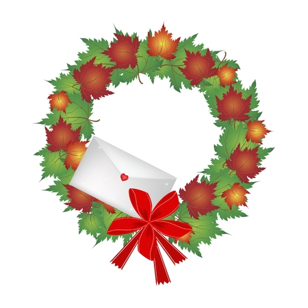 Christmas Wreath of Autumn Maple Leaves in Red, Orange and Green Colors with Lovely Envelope, Sign for Christmas Celebration. Vector