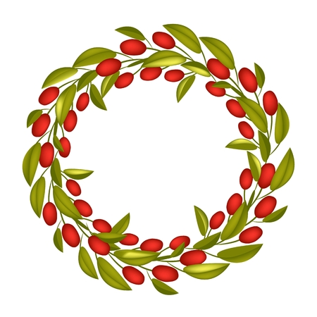 Illustration of Beautiful Crown or Laurel Wreath of Fresh Green Olive and Leaves with Red Berries Isolated on White Background. Vector