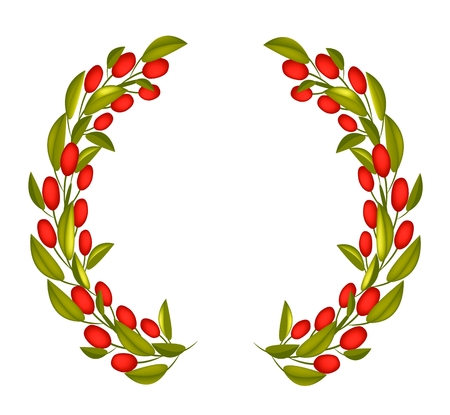 Illustration of Crown or Laurel Wreath of Fresh Green Olive and Leaves with Red Berries Isolated on White Background. Vector