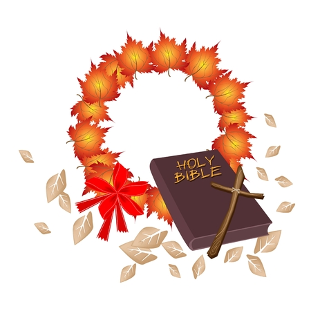 Illustration of Brown Covered Bible with Christmas Wreath of Autumn Maple Leaves in Orange Color, Sign for Christmas Celebration. Illustration